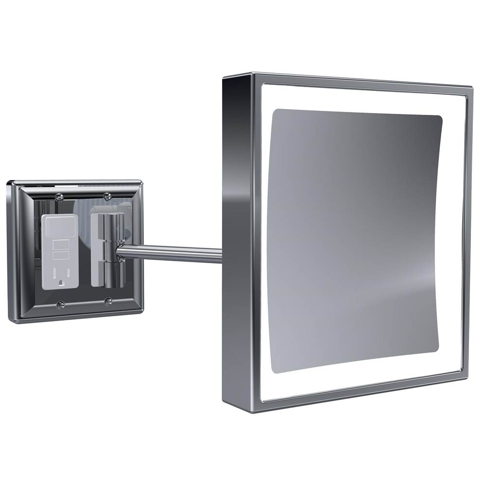 Baci Mirrors Baci Senior Wall Mirror With Gfci Outlet - Square