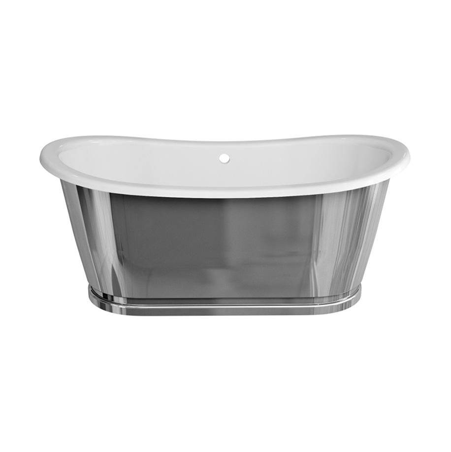 Crosswater London Balthazar Bathtub with Polished Stainless Exterior