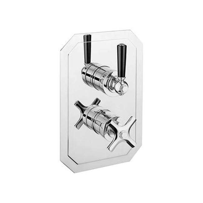 Crosswater London Waldorf 1500 Thermostatic Valve Trim with Integrated Volume Control/Diverter and Black Lever Handles
