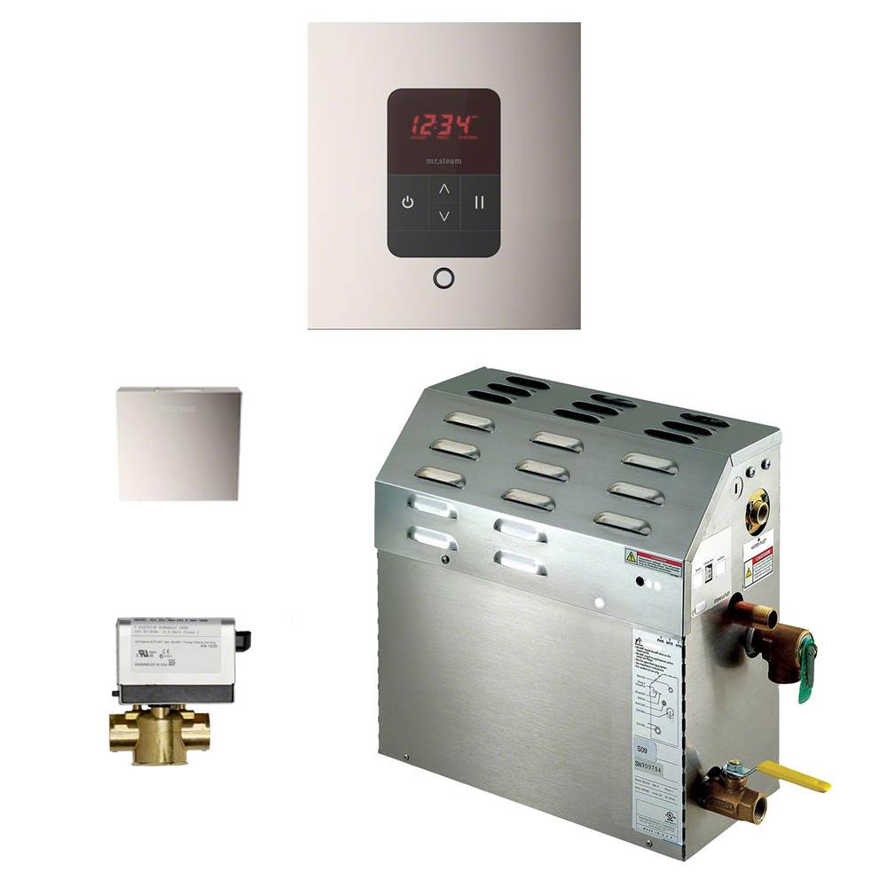 Mr. Steam 6kW Steam Bath Generator with iTempo AutoFlush Square Package in Polished Nickel