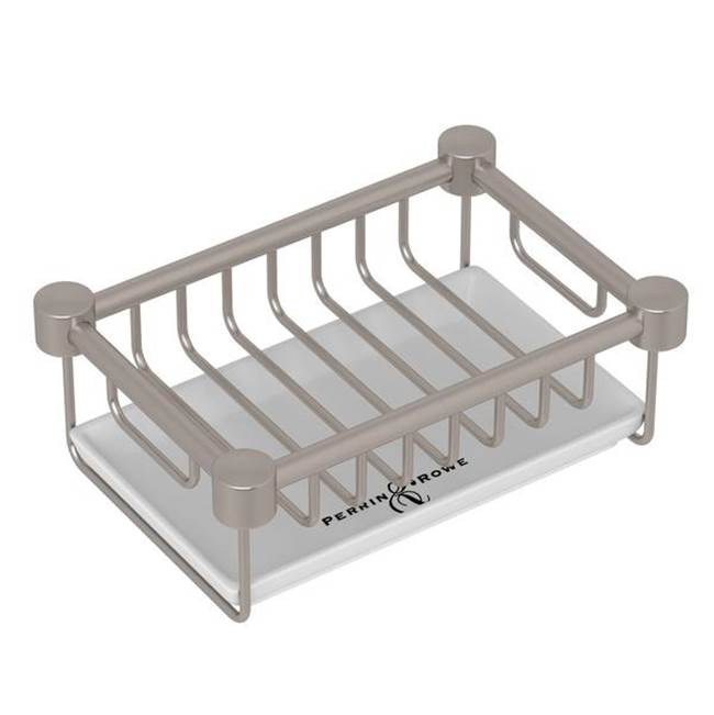 Rohl Perrin & Rowe® Holborn Free Standing Porcelain Soap Basket in Satin Nickel