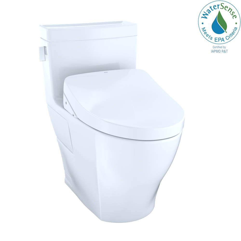 Toto WASHLET+® Legato One-Piece Elongated 1.28 GPF Toilet and Contemporary WASHLET S550e Bidet Seat, Cotton White
